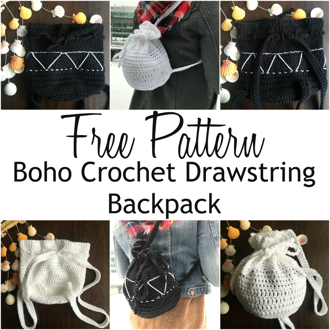 free pattern boho crochet drawstring backpack